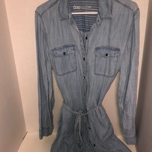 GAP Jean Denim Button Down Dress Light Blue